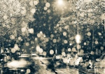 Rain and streetlights